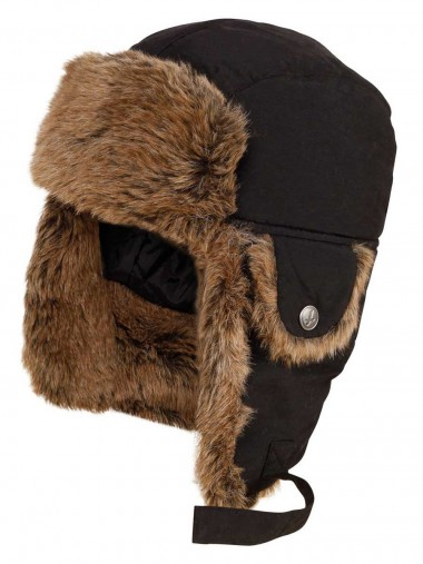 Aigle Snuggy Faux Fur Hat with Ear Flaps - Noir