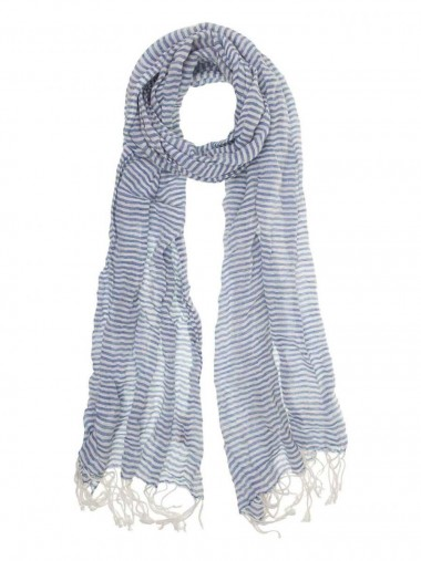 Alayas Linen and Cotton Scarf from Aigle - Blue and White Stripe