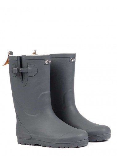 Woody Pop Fur Lined Childrens Wellington Boot - Charcoal