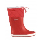 Aigle Kids Giboulee Fur Lined Welly Boot - Red